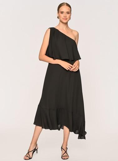 Loves You Tek Kol Şifon Elbise Siyah